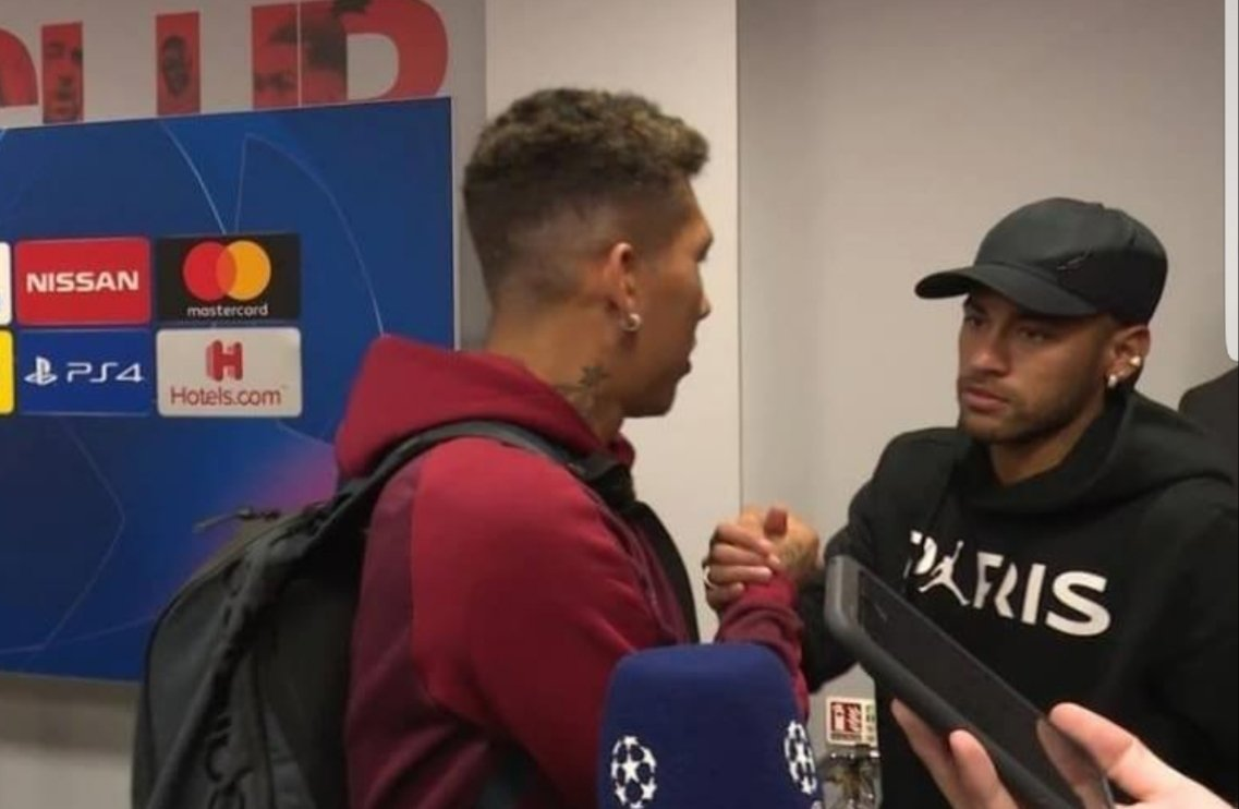 Neymar congratulated Roberto Firmino for scoring Liverpool's winning goal to beat Paris Saint-Germain