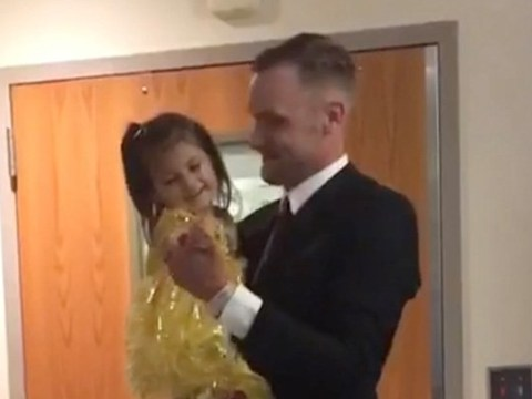 Dad surprises daughter with princess-themed dance to celebrate first round of chemo