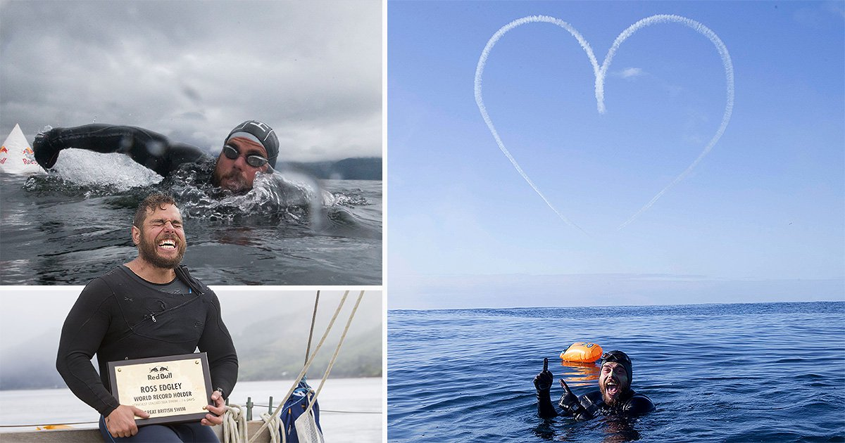 Swimmer spending 100 days at sea gets awesome surprise