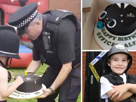 Police make five-year-old's day by going to his birthday party