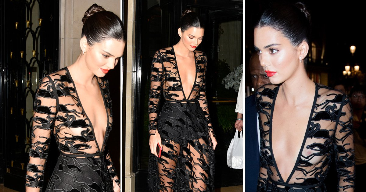 Kendall Jenner is a sheer delight as she frees the nipple in Paris