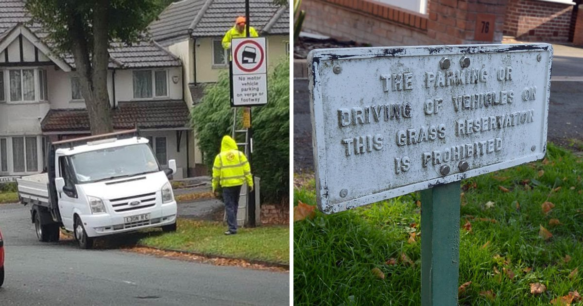 Contractors park on grass verge to put up 'no parking on the verge' signs