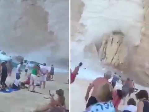 Terrifying moment cliff falls down onto packed beach in Zante as tourists flee