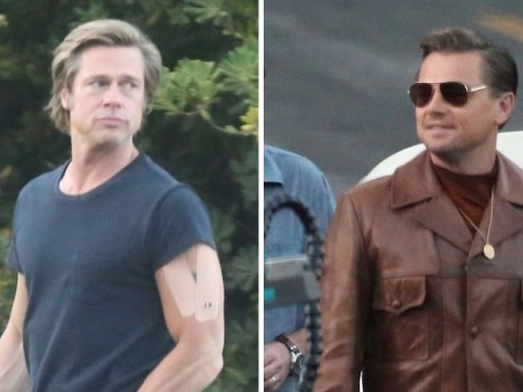 Brad Pitt sports plasters as he joins Leonardo DiCaprio on Once Upon A Time In Hollywood set