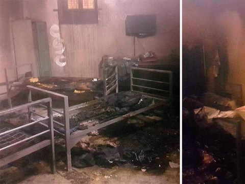 Six men hospitalised after setting alight mattresses in deportation cell