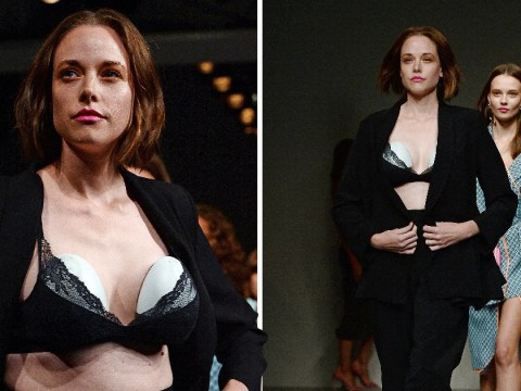 Model breast pumps on the catwalk at London Fashion Week