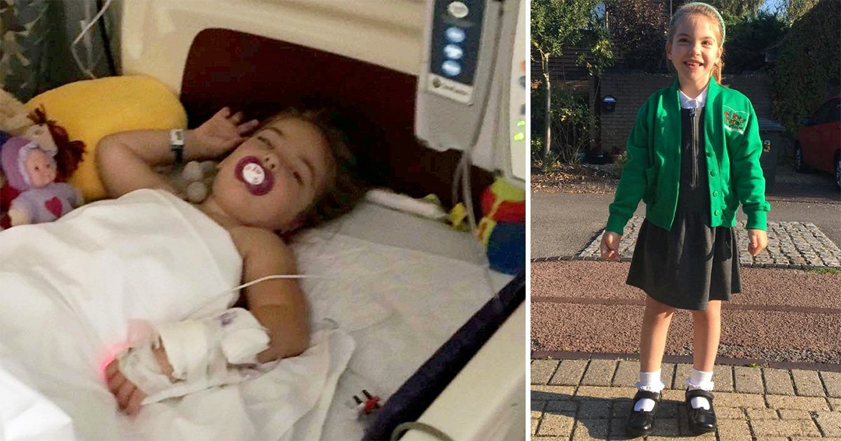 Four-year-old girl with cerebral palsy walks to school for the first time