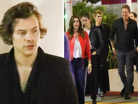 Harry Styles is one of the family as he joins Cindy Crawford and her kids for Eagles gig