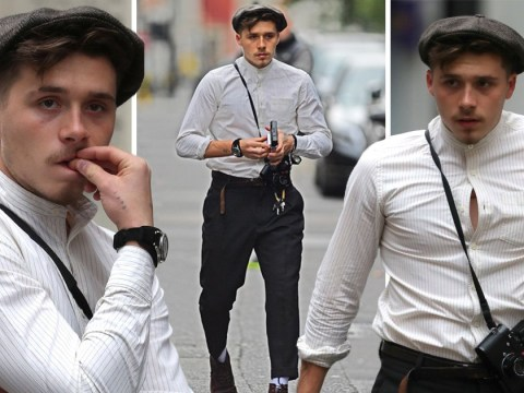Brooklyn Beckham looks straight from the set of Peaky Blinkers as he wears very curious outfit indeed