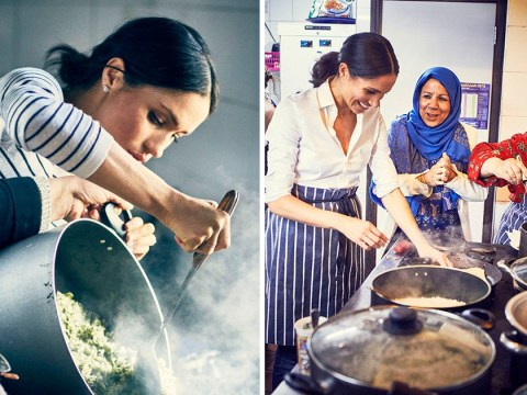 Meghan Markle rolls up her sleeves and cookswith Grenfell victims as the Duchess launches new cookbook