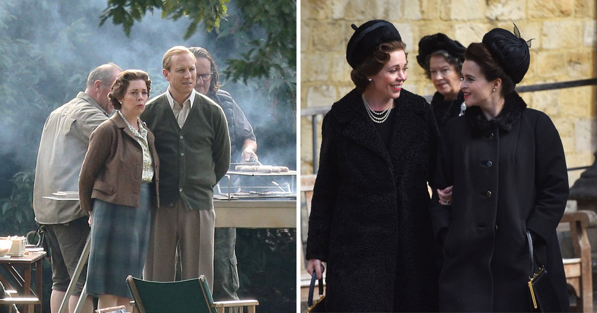 Queens Helena Bonham Carter and Olivia Colman get giggles on set of The Crown