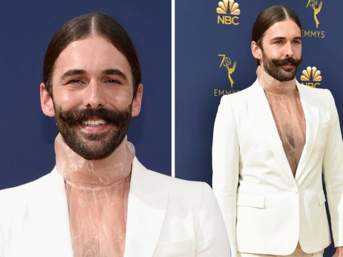 Queer Eye's Jonathan Van Ness works a nude high-collar blouse because he 'came to slay' at Emmy Awards 2018