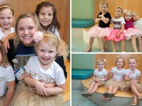 Four little girls who beat cancer together reunite two years later