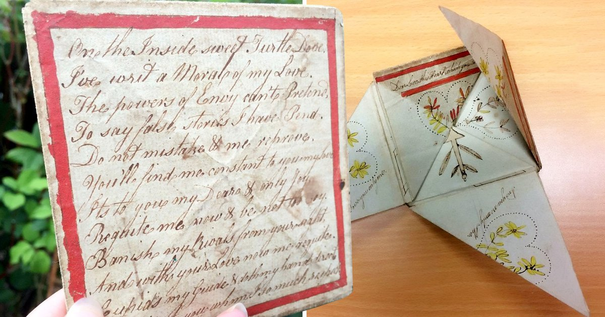 Retired florist finds marriage proposal note from 1780, hidden in a puzzle purse