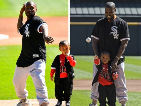 Kanye West proudly watches son Saint throw pitch in baseball game on poignant return to Chicago