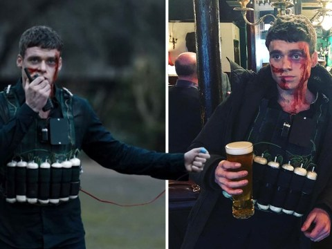 Richard Madden celebrates Bodyguard finale with pint in bomb vest