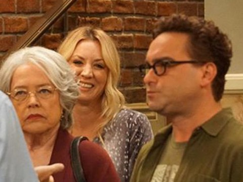 5e39e117f778 Kaley Cuoco too afraid to ask for picture with co-star Kathy Bates so  photobombed