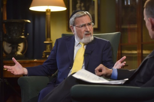 For use in UK, Ireland or Benelux countries only BBC handout photo of former Chief Rabbi Lord Sacks and host Andrew Marr (right)appearing on the BBC1 current affairs programme, The Andrew Marr Show. PRESS ASSOCIATION Photo. Issue date: Sunday September 2, 2018. See PA story POLITICS Labour. Photo credit should read: JEFF OVERS/BBC/PA Wire NOTE TO EDITORS: Not for use more than 21 days after issue. You may use this picture without charge only for the purpose of publicising or reporting on current BBC programming, personnel or other BBC output or activity within 21 days of issue. Any use after that time MUST be cleared through BBC Picture Publicity. Please credit the image to the BBC and any named photographer or independent programme maker, as described in the caption.