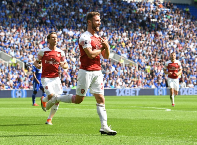CARDIFF, WALES - SEPTEMBER 02: Shkodran Mustafi celebrates scoring a goal for Arsenal during the Premier League match between Cardiff City and Arsenal FC at Cardiff City Stadium on September 2, 2018 in Cardiff, United Kingdom. (Photo by David Price/Arsenal FC via Getty Images)