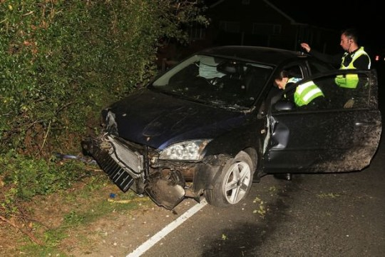 The car ended up buried in a hedge