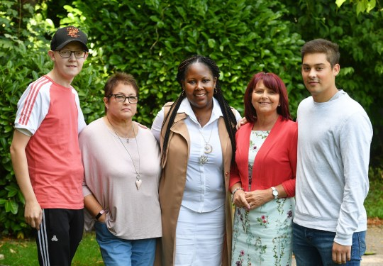 (left to right) Luke Palfreyman, Yvonne Dunham, Michelle Hemmings, Jo Hext and Daniel Peel meet up in the grounds of Papworth Hospital in Cambridgeshire, six months after they all had major transplant surgery, ahead of Organ Donation week. PRESS ASSOCIATION Photo. Picture date: Tuesday September 4, 2018. See PA story HEALTH Transplants. Photo credit should read: John Stillwell/PA Wire