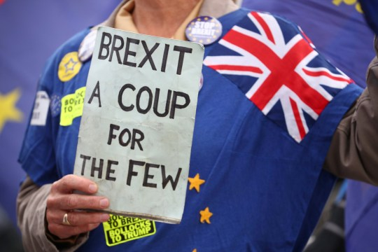 An anti-Brexit demonstrators protests outside the Houses of Parliament in London, Britain, September 4, 2018. REUTERS/Hannah McKay