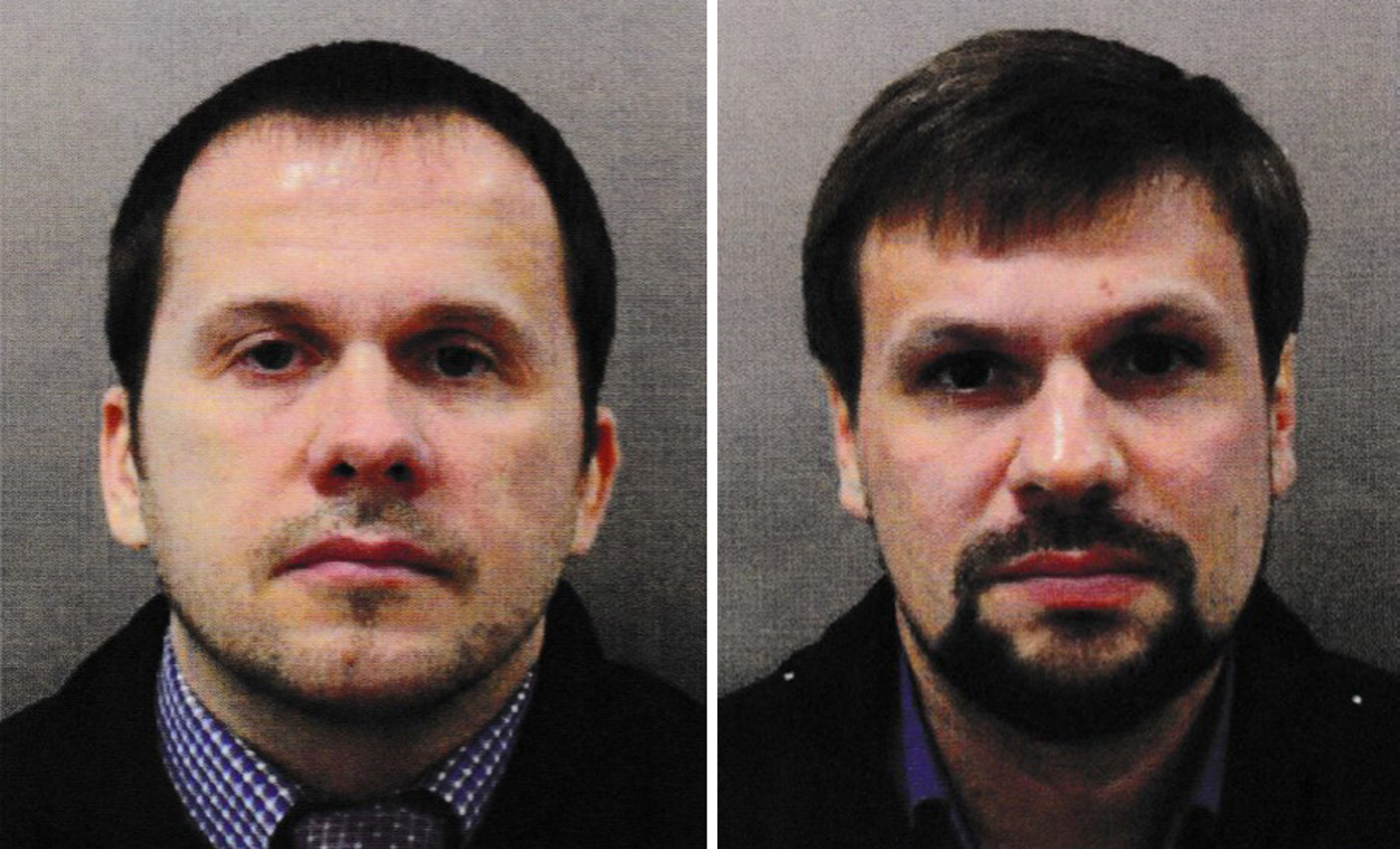Undated handout photo issued by the Metropolitan Police of Alexander Petrov (left) and Ruslan Boshirov. The CPS has issued European Arrest Warrants for the extradition of the two Russian Nationals in connection with the Novichok poisoning attack on Sergei Skripal and his daughter Yulia in March. PRESS ASSOCIATION Photo. Issue date: Wednesday September 5, 2018. See PA story POLICE Salisbury. Photo credit should read: Metropolitan Police/PA Wire NOTE TO EDITORS: This handout photo may only be used in for editorial reporting purposes for the contemporaneous illustration of events, things or the people in the image or facts mentioned in the caption. Reuse of the picture may require further permission from the copyright holder.