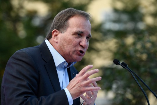Swedish Prime Minister Stefan Lofven addresses an election campaign rally attended by Spain's Prime Minister in Enkoping, Sweden on September 5, 2018. (Photo by Jonathan NACKSTRAND / AFP)JONATHAN NACKSTRAND/AFP/Getty Images
