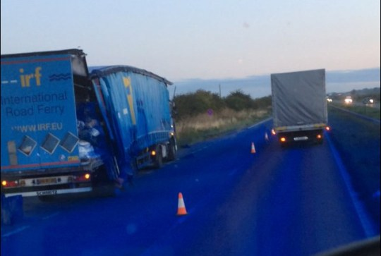 The A1 near Grantham turns blue after a lorry spillage. (www.knsnews.co.uk/Adam Mctasney)