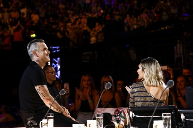 STRICT EMBARGO - NO USE BEFORE 00:01GMT SATURDAY 8TH SPETEMBER 2018. EDITORIAL USE ONLY - NO MERCHANDISING Mandatory Credit: Photo by Dymond/Thames/Syco/REX (9874911l) Robbie Williams and Ayda Williams 'The X Factor' TV show, Series 15, Episode 3, UK - 08 Sep 2018