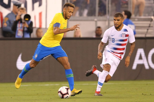 SIPA USA via PA Images Sep 7, 2018; East Rutherford, NJ, USA; Brazil forward Neymar (10) plays the ball against United States defender DeAndre Yedlin (2) during the second half of an international friendly soccer match at MetLife Stadium. Mandatory Credit: Brad Penner-USA TODAY Sports