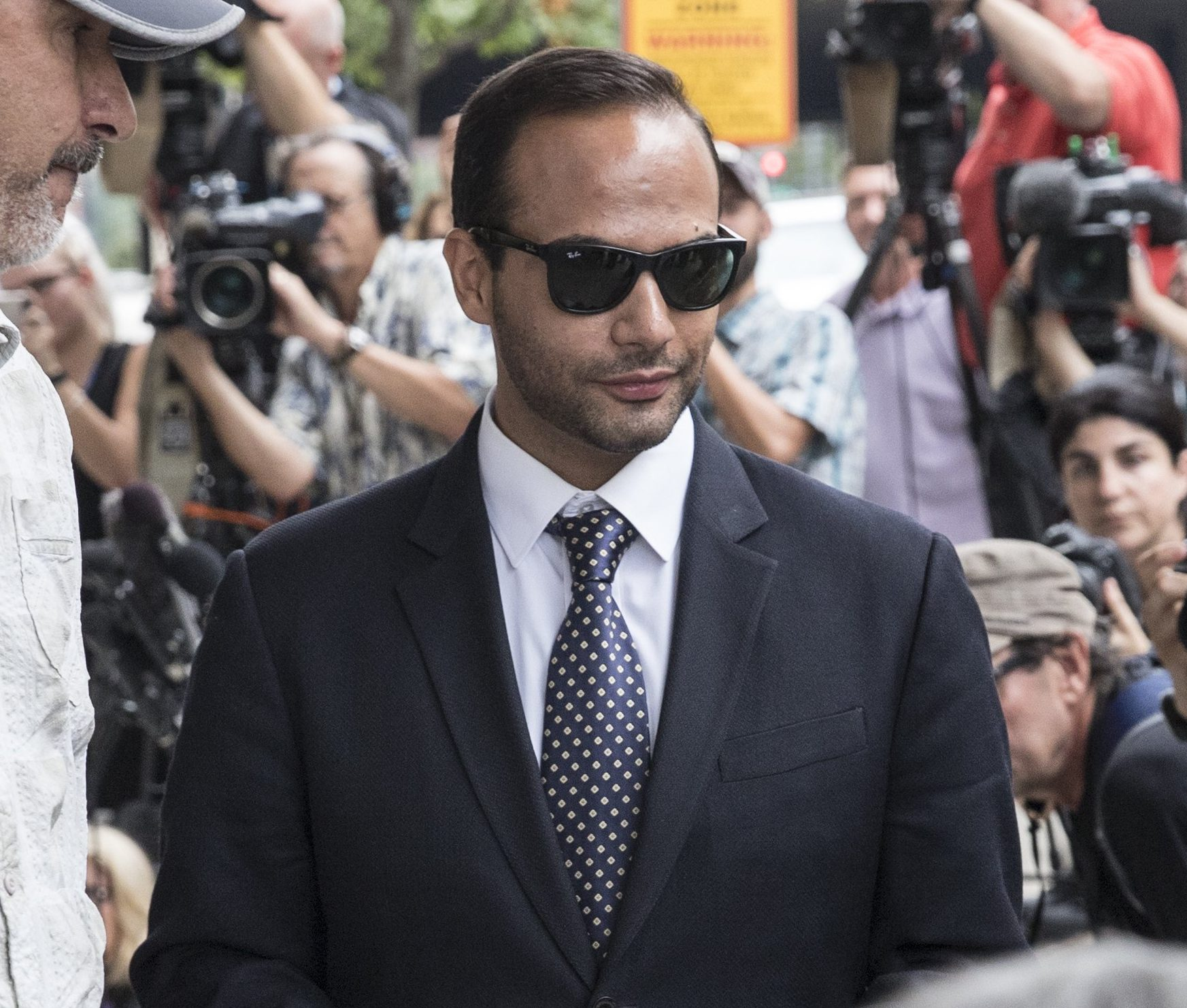 "WASHINGTON, DC - SEPTEMBER 07: Former Trump Campaign aide George Papadopoulos leaves the U.S. District Court after his sentencing hearing on September 7, 2018 in Washington, DC. Papadopoulos pleaded guilty last year for making a ""materially false, fictitious and fraudulent statement"" to investigators during FBI's probe of Russian interference during the 2016 presidential election. (Photo by Alex Wroblewski/Getty Images) ***BESTPIX***"