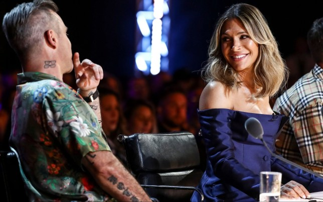 STRICT EMBARGO - NO USE BEFORE 00:01GMT SUNDAY 9TH SEPTEMBER 2018. EDITORIAL USE ONLY - NO MERCHANDISING Mandatory Credit: Photo by Dymond/Thames/Syco/REX (9876216i) Robbie Williams and Ayda Williams during Athena Manoukian's performance 'The X Factor' TV show, Series 15, Episode 4, UK - 09 Sep 2018