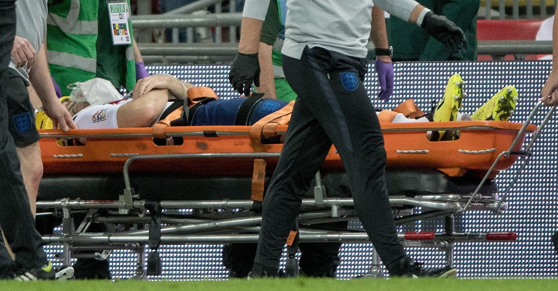 Mandatory Credit: Photo by Sandra Mailer/REX (9874859av) Luke Shaw is taken off the pitch with oxygen after his sustaining a head injury from a clash with Dani Carvajal England v Spain, UEFA Nations League Group A4, International Football, Wembley Stadium, London, UK - 08 Sep 2018