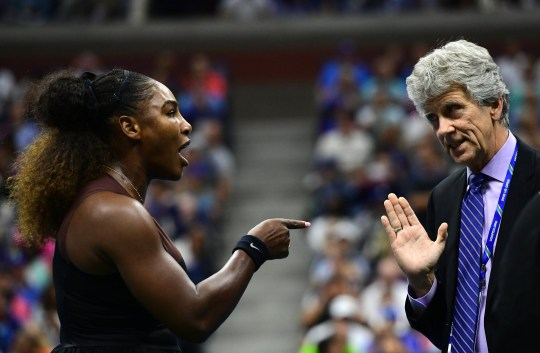 NEW YORK, NY - SEPTEMBER 08: Serena Williams of the United States argues with referee Brian Earley during her Women's Singles finals match against Naomi Osaka of Japan on Day Thirteen of the 2018 US Open at the USTA Billie Jean King National Tennis Center on September 8, 2018 in the Flushing neighborhood of the Queens borough of New York City. (Photo by Sarah Stier/Getty Images)