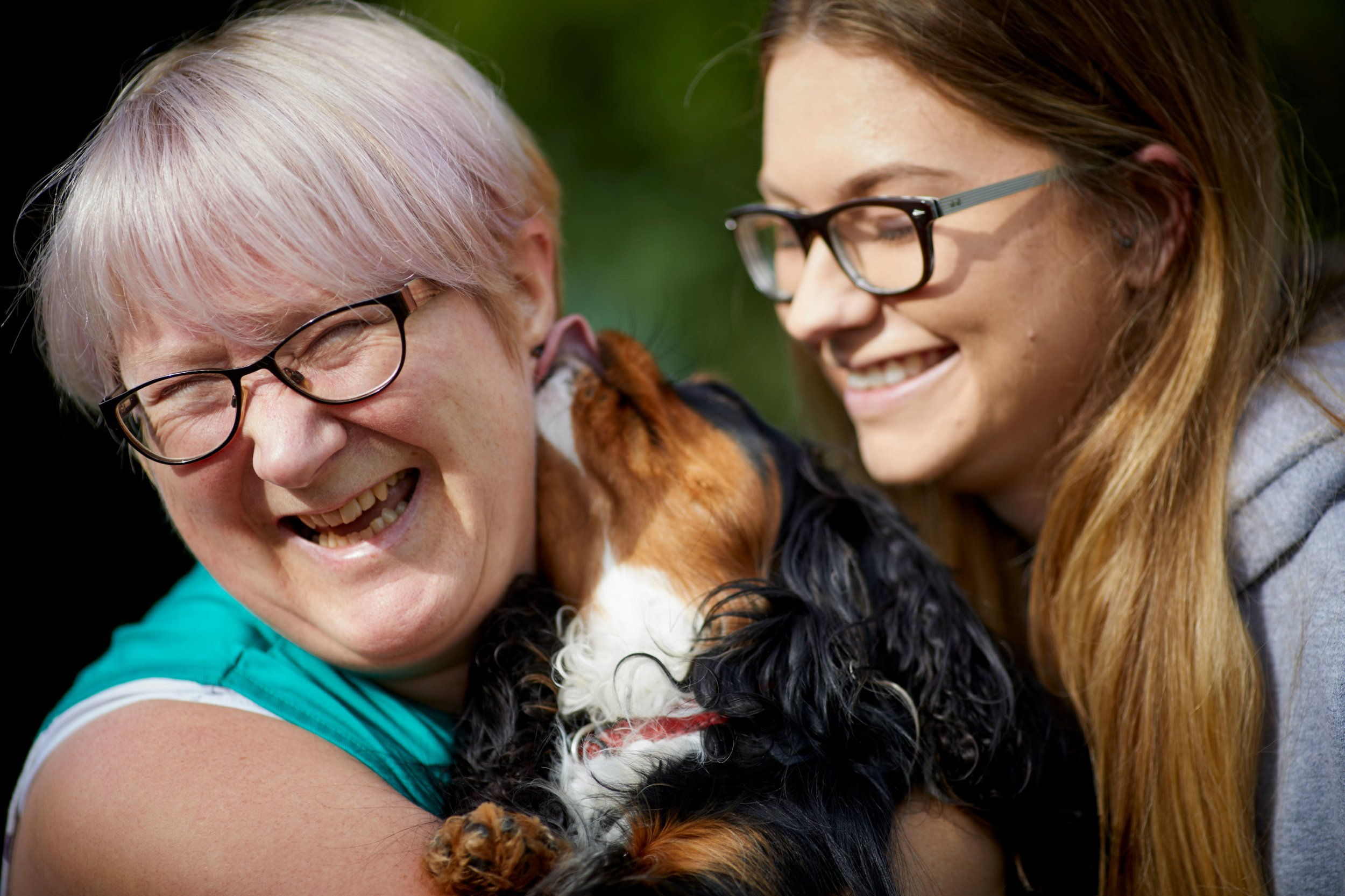 """ONE USE ONLY, NO SALES NO ARCHIVE Undated handout photo of Sharon Hall and Alana Tennent, 24 . Dog-lovers are being encouraged to help the lonely and depressed in their community by sharing some """"animal magic"""" at a cafe in Manchester. PRESS ASSOCIATION Photo. Issue date: Sunday September 9, 2018. Animal-assisted therapy, which began as a treatment for schizophrenics and patients with bipolar disorder at a local hospital, is now being offered at the pop-up cafe, where dog owners can take their pets to help people struggling with mental health issues. Paints And Paws Pop Inn is the brainchild of Hall, 54, who found that buying a puppy helped her cope with the loss of her parents. The cafe is an extension of successful work Ms Hall already does as part of her pet and art therapy service, Noah?s Art, which has used animal rescue therapy at North Manchester General Hospital. See PA story ANIMALS Mental. Photo credit should read: Mark Waugh/PA Wire NOTE TO EDITORS: This handout photo may only be used in for editorial reporting purposes for the contemporaneous illustration of events, things or the people in the image or facts mentioned in the caption. Reuse of the picture may require further permission from the copyright holder."""