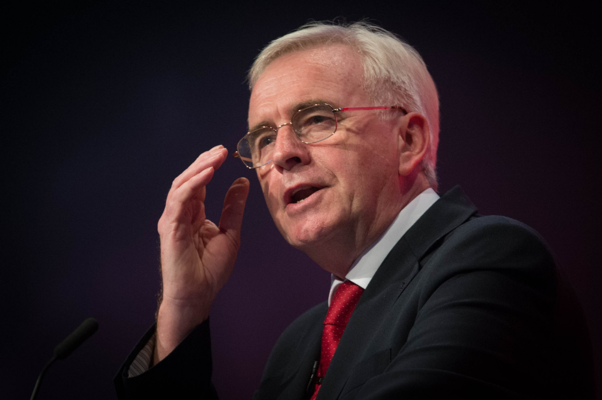 Shadow chancellor John McDonnell addressing the Labour Party annual conference at the Brighton Centre, Brighton.