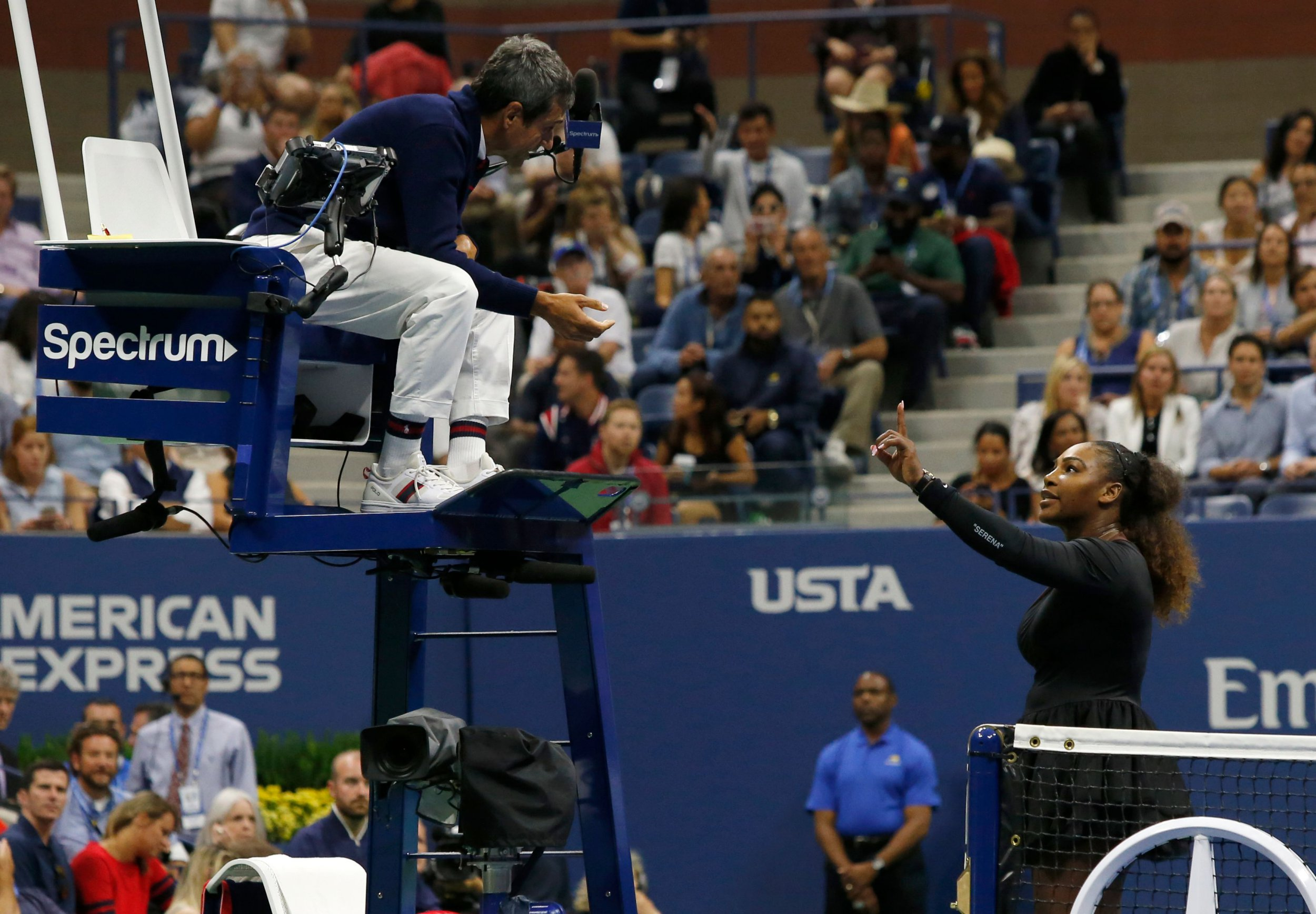 "(FILES) In this file photo taken on September 8, 2018 Serena Williams of the US argues with chair umpire Carlos Ramos while playing Naomi Osaka of Japan during their 2018 US Open women's singles final match in New York. - Serena Williams has been fined $17,000 by the US Tennis Association in the wake her outburst during a controversial US Open final loss to Japan's Naomi Osaka. The American star was fined for coaching, racquet abuse and for verbal abuse when she accused umpire Carlos Ramos of being ""a thief"" during Saturday's stormy final.Williams was incensed at the coaching violation, although coach Patrick Mouratoglou, sitting in her box, admitted that he was coaching when he moved his hands. (Photo by Eduardo MUNOZ ALVAREZ / AFP)EDUARDO MUNOZ ALVAREZ/AFP/Getty Images"