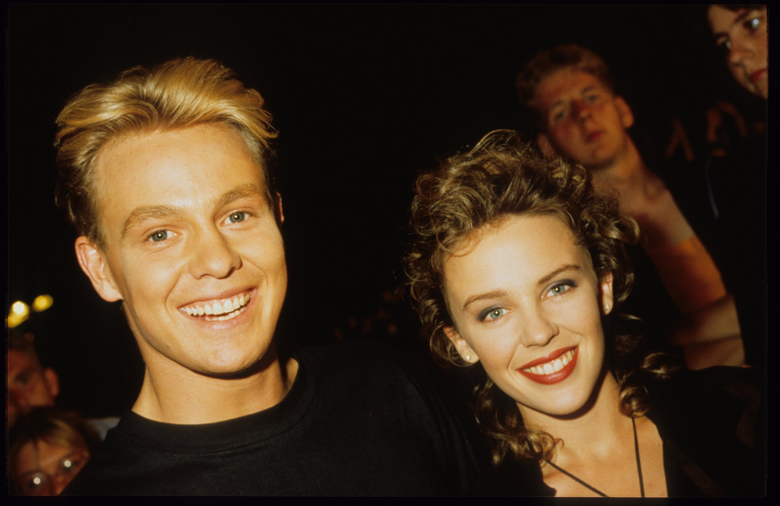 Kylie Minogue and Jason Donovan, TV Show 'Tien om te zien', Blankenberge, Belgium, 14/08/1989. (Photo by Gie Knaeps/Getty Images)