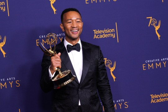LOS ANGELES, CA - SEPTEMBER 09: John Legend, winner of the award for outstanding variety special for 'Jesus Christ Superstar Live in Concert', poses in the press room during the 2018 Creative Arts Emmy Awards at Microsoft Theater on September 9, 2018 in Los Angeles, California. (Photo by JC Olivera/WireImage)