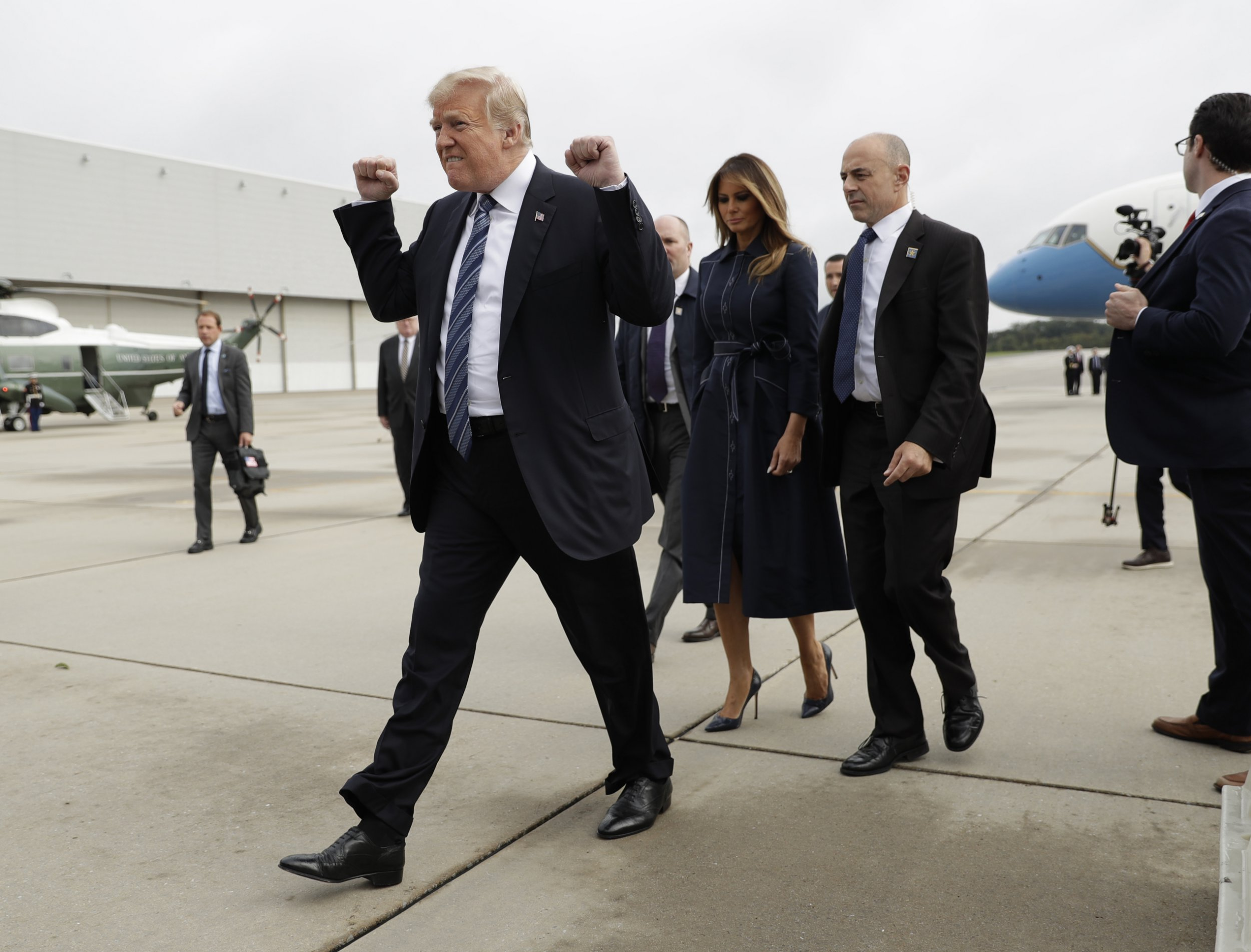 Donald Trump blasted for giving 'smug' fist pump on arriving at 9/11 memorial