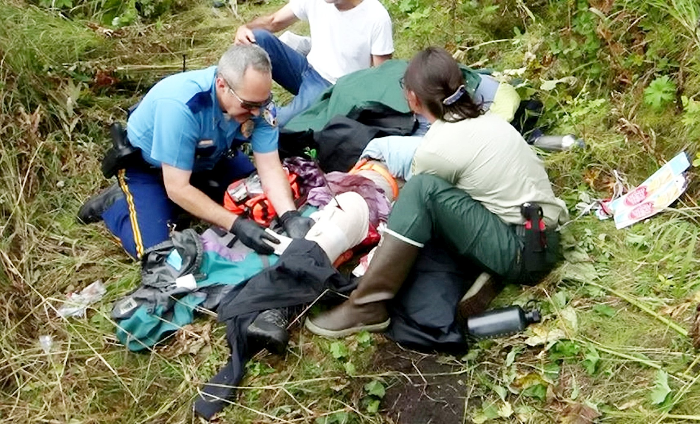 A hiker?s outing turned into a nightmare when was airlifted to hospital after becoming IMPALED on a broadhead arrow lurking in the grass. See SWNS story NYARROW. Janis Bronson, 59, was five miles into a hike on the Lower Russian Mountain trail in Cooper Landing, Alaska, when a sharp arrow was driven straight through her thigh on September 6. The arrow, used for hunting, was sitting tip up in the grass and was driven further into the teacher?s leg as she moved forward. The woman?s panicked husband Michael Bronson alerted Alaska State Troopers who hiked five miles to meet the couple at the trail?s convergence with the Upper Russian Mountain trail. Sergeant with the Alaska State Troopers Mike Zweifel stabilized the woman?s gruesome wound before emergency assistance from the Moose Pass Fire and Bear Creek Volunteer Fire Department hiked to meet them. Afraid of dislodging the arrow, first responders decided that Janis, of Anchorage, Alaska, should be airlifted by the National Guard to Providence Alaska Medical Center.