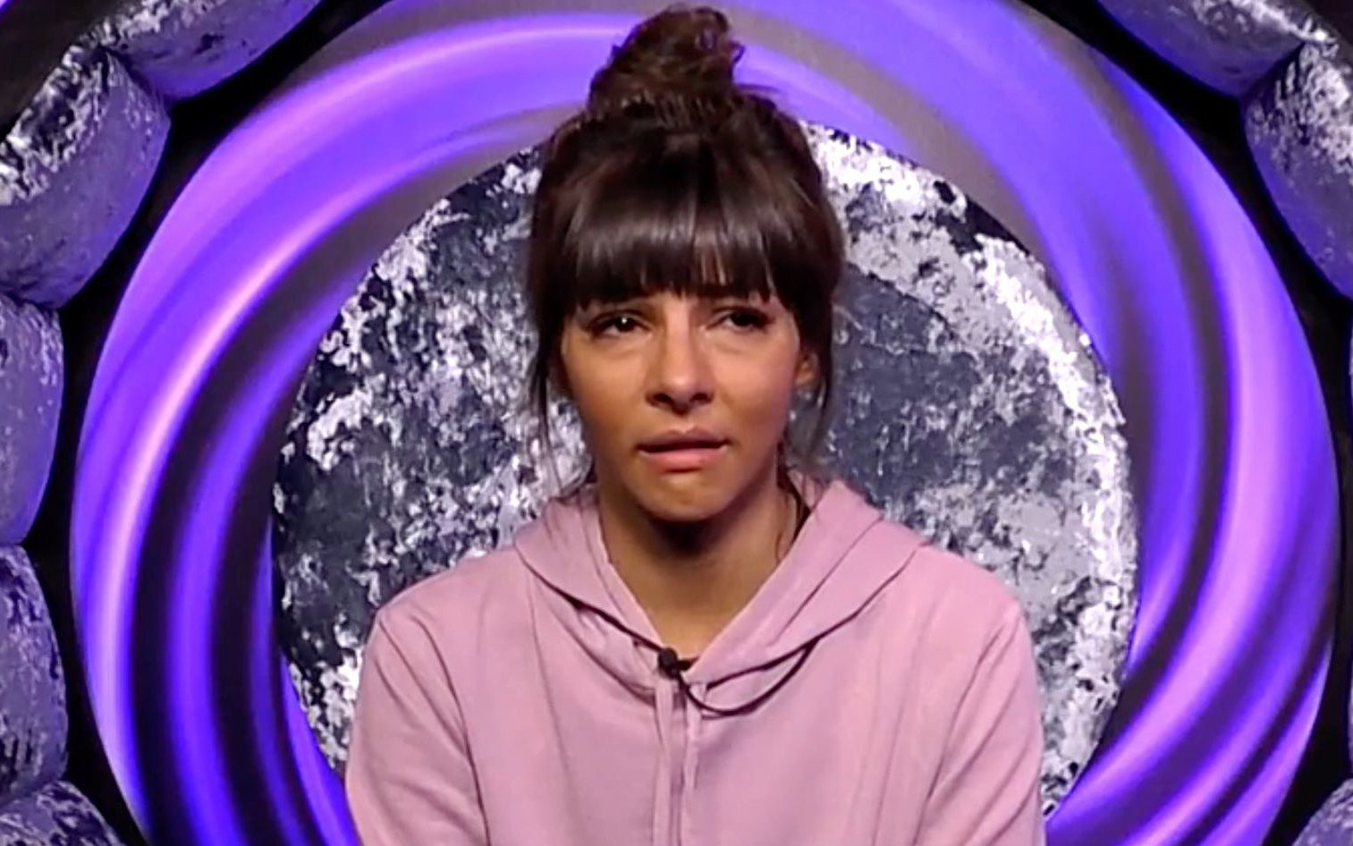Editorial Use Only Mandatory Credit: Photo by REX/Shutterstock (9826810ay) Roxanne Pallett cries in the diary room 'Celebrity Big Brother' TV show, Series 22, Elstree Studios, Hertfordshire, UK - 30 Aug 2018