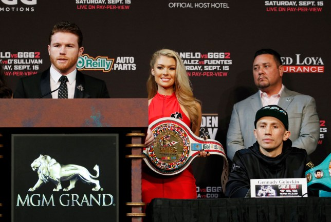 Canelo Alvarez, left, speaks during a news conference as Gennady Golovkin listens Wednesday, Sept. 12, 2018, in Las Vegas. The two are scheduled to fight in a title bout Saturday in Las Vegas. (AP Photo/John Locher)