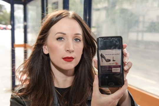 MERCURY PRESS. 13/09/18. Pictured: Kirstie Jones with a picture of the NHS sign on her phone. A commuter has accused the NHS of sexism after spotting an emergency contraception ad on a bus quizzing women about whether theyre prepared to give up lipstick and heels for KIDS. Kirstie Jones, 29, was stunned when she got on the National Express West Midlands service at 6.30pm on Tuesday [SEPT 11] and saw the eye-catching poster advertising the sexual health clinics services. The social media manager was aghast when she spotted the poster emblazoned with the phrase would you give up this? next to a pair of sky-scraper heels and a red lipstick followed by for this? next to a pink dummy. SEE MERCURY COPY