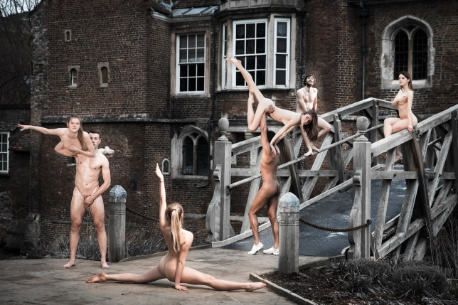 "Picture supplied by Kevin Low/Bav Media 07976 880732. EMBARGOED UNTIL 21.00HRS SEPTEMBER 13TH 2018 Picture shows the Rock n Roll Dancesport team from the 2019 Cambridge University Blues naked calendar. Sexy sportsmen and women at Cambridge University have bared their bums and breasts in a naked calendar to raise money for charity. Students in the university's sports teams, including swimming, skiing, rock n roll dancing and netball have posed naked for photos around the historical city of Cambridge. One of the pictures shows the daring students doing the SPLITS in the buff on the famous Mathematical Bridge at Queens' College. Another shows the girls~ football team using strategically placed balls and boots to preserve their modesty. In another shot a group of nude American football players are seen punting down the historic Backs. Student Emma Teal, who has organised the Cambridge Blues calendar with fellow undergraduates Ladislaya Ladanyi, Joanna Moest and Zoe Cohen, said: ""We all really enjoyed making the calendar, although it did involve a lot of early mornings as we had to go to the locations when there weren't too many people about. SEE COPY CATCHLINE Naked Cam Uni students calendar"