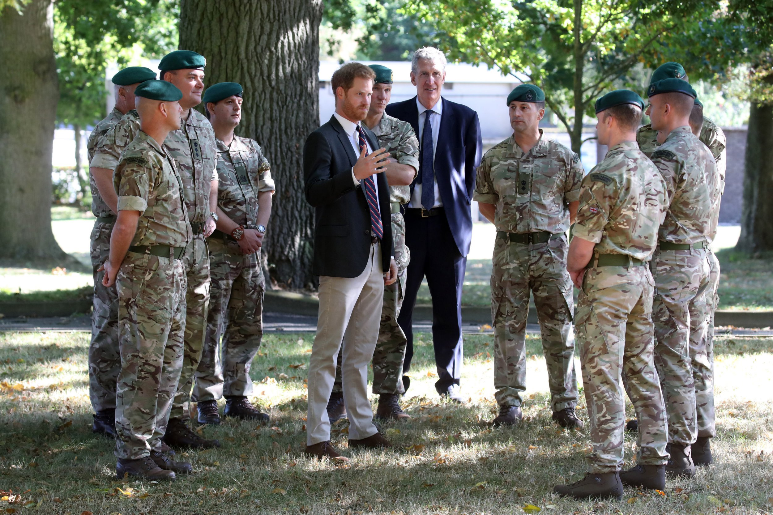 The Duke of Sussex meets commandos as he visits during a visit to the Royal Marines Commando Training Centre in Lympstone, Devon. PRESS ASSOCIATION Photo. Picture date: Thursday September 13, 2018. The duke became Captain General Royal Marines in December last year, succeeding his grandfather Philip who was Captain General for 64 years. See PA story ROYAL Harry. Photo credit should read: Chris Jackson/PA Wire