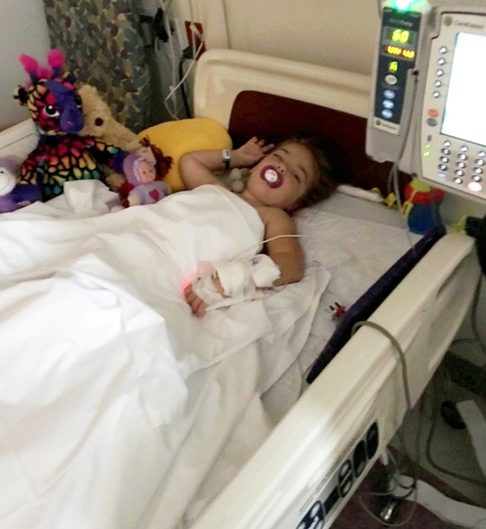 Emmy King pictured in hospital where she given a life-changing operation for cerebral palsy See SWNS story SWWALK; A four-year-old girl with cerebral palsy walked for the first time after a life-changing operation - just in time for first day of school. Emmy King's parents feared she'd be in a wheelchair for life after she was diagnosed with spastic diplegia aged 20 months, which caused her muscles to be constantly stiff. But thanks to life-changing surgery in America, costing ?85,000, her parents Carly and Dave were able to watch on as their four-year-old walked through the school gates. Family, friends and strangers donated thousands of pounds to pay for the vital treatment in the USA.