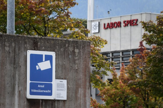A sign warning of CCTV area controlled is seen next to the Spiez Laboratory, Swiss Federal Institute for NBC-Protection (nuclear, biological, chemical), on September 14, 2018 in Spiez, 40km from the capital Bern as Swiss newspapers reported that two Russian agents suspected of trying to spy the laboratory were arrested in the Netherlands and expelled early this year. - At the time, Spiez was analysing data related to poison gas attacks in Syria, as well as the March 4 attack using the nerve agent Novichok on Russian double agent Sergei Skripal and his daughter in Salisbury, Swiss newspapers reported. (Photo by Fabrice COFFRINI / AFP)FABRICE COFFRINI/AFP/Getty Images