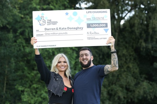 Darren and Kate Donaghey from Newcastle, celebrate their ?1 million National Lottery Scratchcard win at the Matfen Hall Hotel in Newcastle. PRESS ASSOCIATION Photo. Picture date: Friday September 14, 2018. Photo credit should read: Owen Humphreys/PA Wire